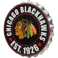 """Chicago Blackhawks Bottle Cap Sign - Est 1926 - Room Bar Decor NEW 13.5"""""""