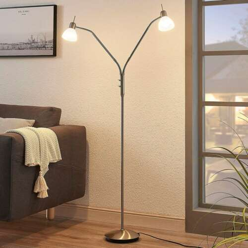 LED Stehleuchte Gwendolin 2 Schirme Lampenwelt Leselampe Wohnzimmer Stehlampe