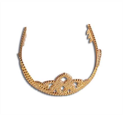 Christmas Fancy Dress Gold Finish Plastic Tiara One Size