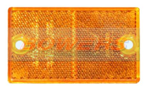SIDE AMBER ORANGE STICK OR SCREW ON RECTANGULAR REFLECTOR TRUCK TRAILER CARAVAN
