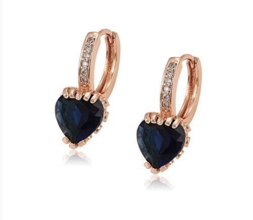 18K ROSE GOLD GF LOVE HEART BLUE SAPPHIRE GEMSTONE CZ HUGGIE HOOP EARRINGS