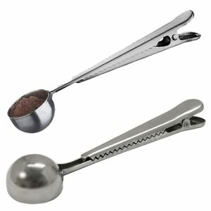 2x Stainless Steel Cup Ground Coffee Measuring Spoon Scoop With Bag Sealing Clip