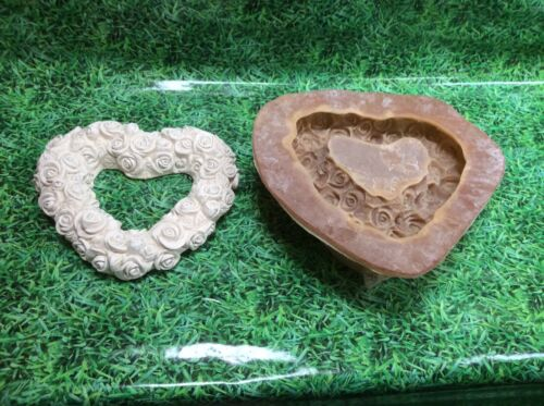 LATEX ONLY MOULD HEART OF ROSES 30CM TALL ORNAMENT MOULD