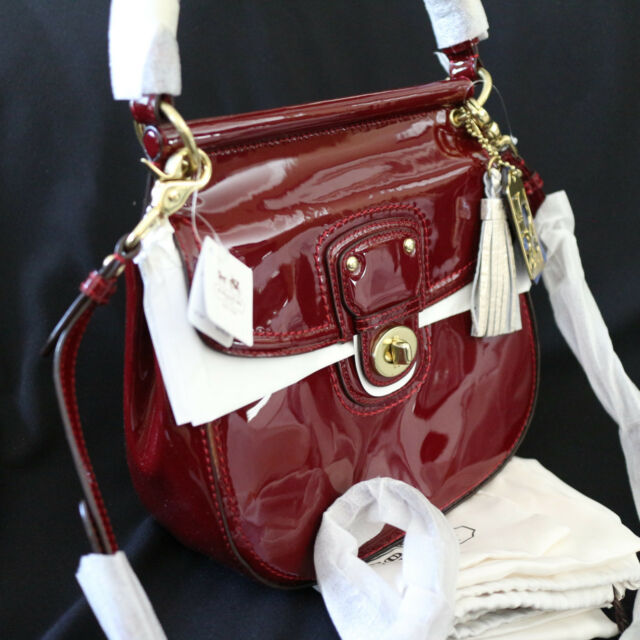 Nwt Coach Red Crimson Patent Leather Large Willis Crossbody Swing Bag Purse New