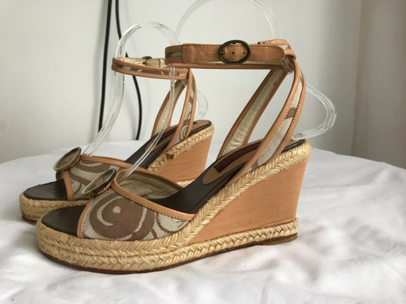 KENZO Rare Vintage Ankle Strap Wedge Espadrilles NEW Made in Spain US 6 EU 36
