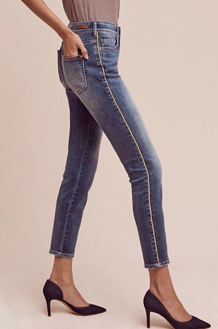 857dd32bffaa44 Anthropologie Pilcro Script High-Rise Tuxedo Stripe Jeans Size 26 NWT