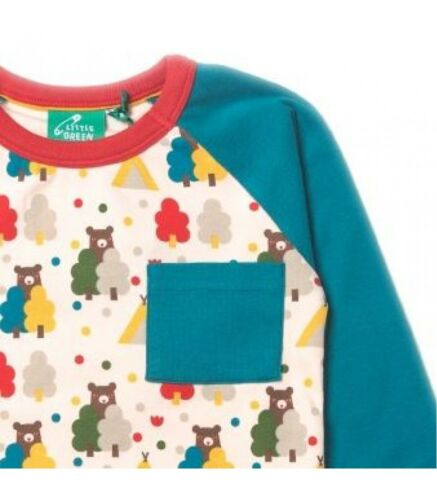 Little Green Radicals Organic Raglan T Shirt Top 0 3 6 9 12 18 24 OURS BLEU ROUGE