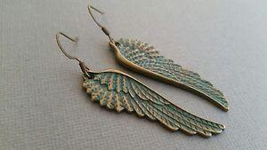 Angel-wing-earrings-bronze-aqua-patina-Verdigris-long-dangle-handmade