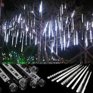8-Rohr-LED-Meteorschauer-Regen-Schneefall-Plug-In-Lichterketten-Weisses-Licht