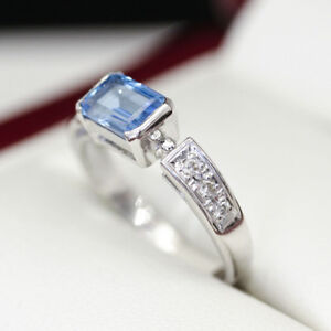 NEW-Stunning-Emerald-cut-Topaz-and-diamond-ring-in-18ct-white-gold