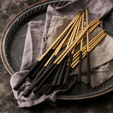 10 Pairs Portable Stainless Steel chopsticks Black Korean Metal Gold Chopstick