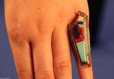 "2"" Size 8-9 Creek/Navajo David Tune Inlaid ring -Sugilite,Lapis,Coral,Turquoise"