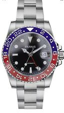 40mm Parnis Sapphire GMT Master Red Blue Pepsi Ceramic Bezel Men Automatic Watch