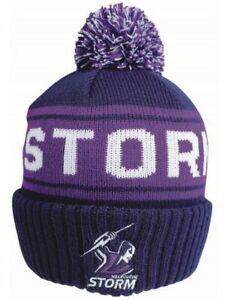 Melbourne Storm NRL Embroidered Striker Pom Pom Beanie!