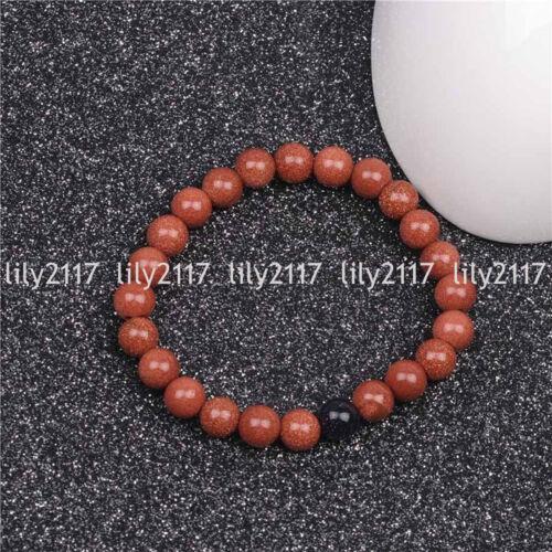 """Naturel 4//6//8//10//12mm or grès RONDE pierres précieuses perles Stretch Bracelet 7.5/"""" AA"""