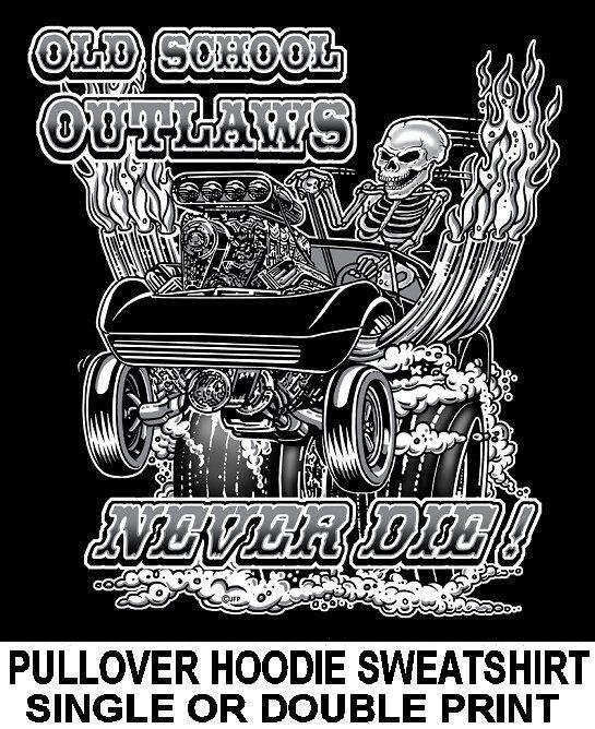 1968-83 OLD SCHOOL MUSCLE HOT ROD DRAG RACE BLOWER CAR SKULL HOODIE SWEATSHIRT