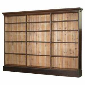 LOVELY-VICTORIAN-1880-MAHOGANY-amp-OAK-LIBRARY-BOOKCASE-169CM-TALL-235CM-WIDE