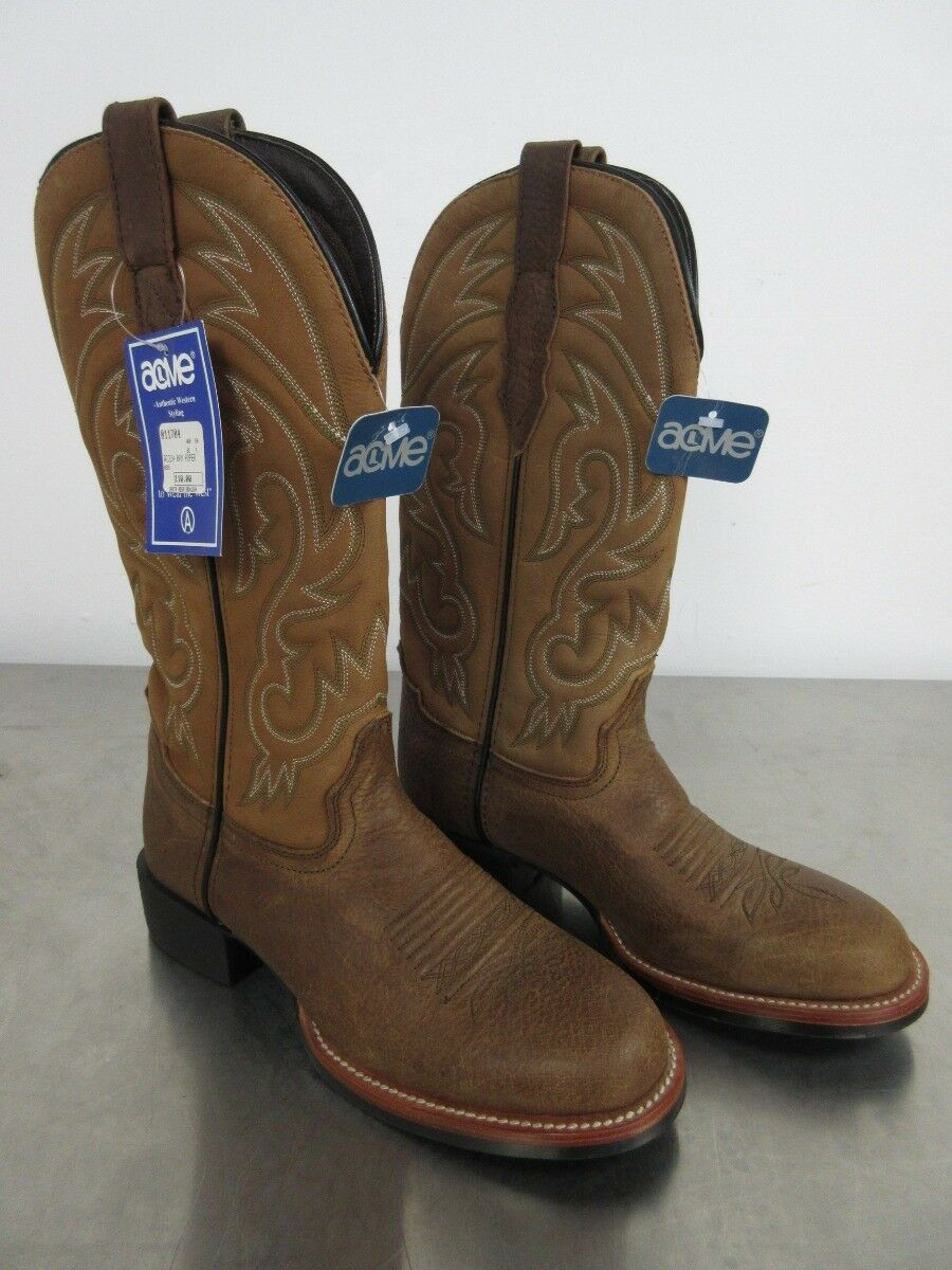 Acme AC224 Cowboy Western Boots Brown Roper Leather Size 7 EE