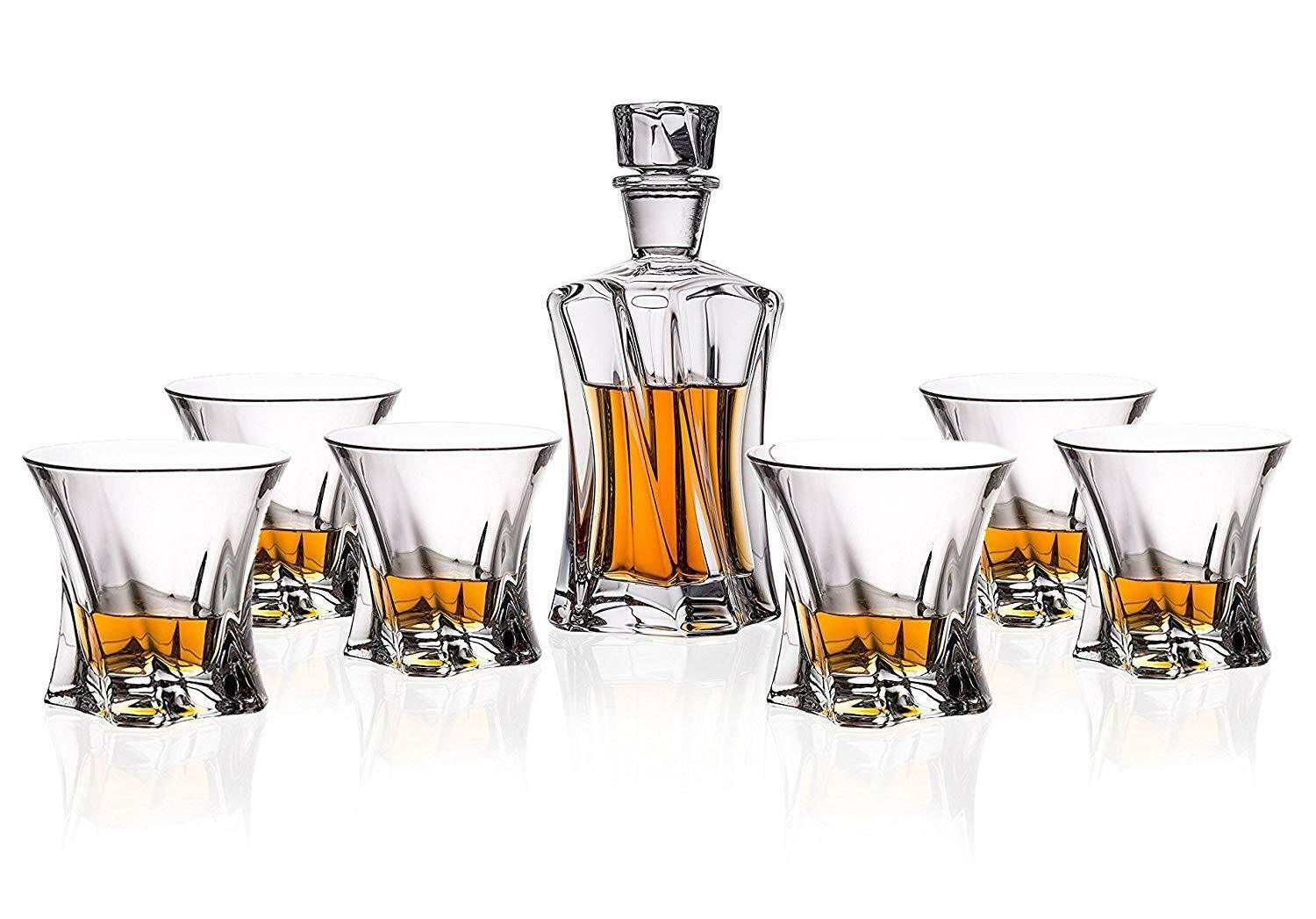Old-Fashioned  Cooper  7-Pc WHISKEY DECANTER SET, sans plomb