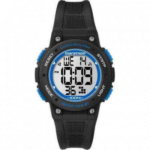 Marathon by Timex Digital Mid-Size Black and Blue Watch. Delivery is Free