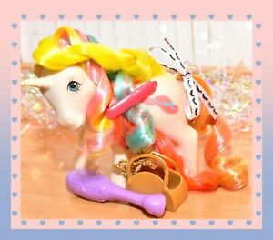 My-Little-Pony-MLP-G1-Vtg-Bouquet-Brush-039-n-Grow-Unicorn-Long-Hair-amp-BRUSH
