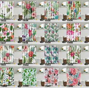 72x72/'/' Tropical Leaves Shower Curtain Bathroom Waterproof Fabric Bath 12 Hooks