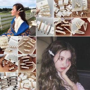 Women-039-s-Girls-Pearl-Hair-Clip-Metal-Hairpin-Slide-Grip-Barrette-Hair-Accessories