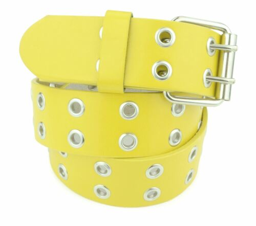 Double Grommet Holes Leather Belt 2-Row Studded Unisex Womens and Mens Belts