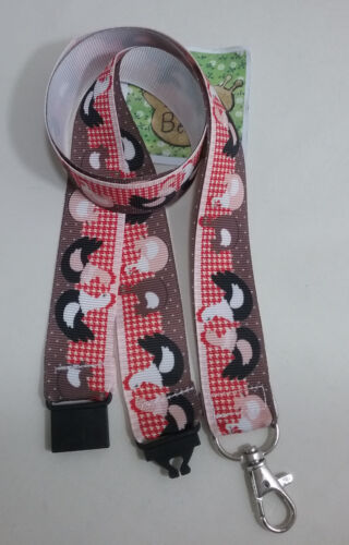 "Chicken hen ribbon lanyard 38/"" safety clip ID badge holder Christmas gift"