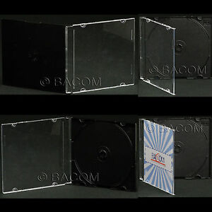 200-Fundas-CD-Individuales-Negro-Slim-slim-BOX-negro-para-1-CD-DVD-Sped