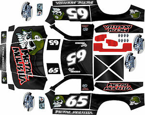 Details about HPI Baja 5SC and 5T Black Metal Theme body wrap decals  stickers skins