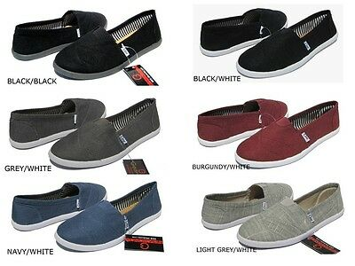 NEW WOMEN'S CLASSIC CANVAS SLIP ON FLATS CASUAL SHOES