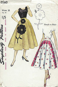 1951-Vintage-Sewing-Pattern-W32-SKIRT-with-TRANSFER-1249