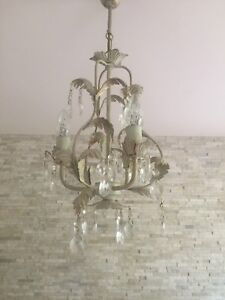 Details About One Laura Ashley Cream And Gold Chandelier Two Matching Side Lights