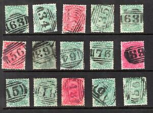 Tasmania-numeral-cancel-selection-on-QV-sideface-stamps-x-15