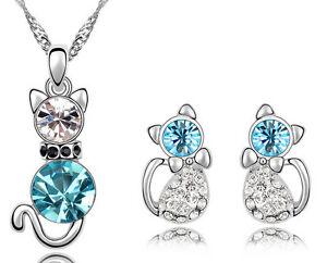 Hello-Kitty-Cat-Crystal-Girls-Women-Necklace-Pendant-Earrings-Party-Jewelry-Set