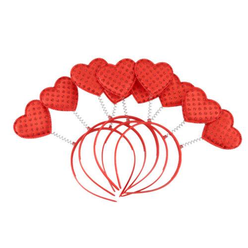 5PCS Red Love Heart Shaped Sequin Headband Valentine/'s Day Hair Hoop Hair Loop H