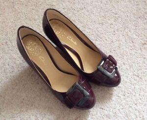 Ladies-Clarks-Deep-Freeze-Wedge-Leather-Shoes-Wine-UK5-BNIB