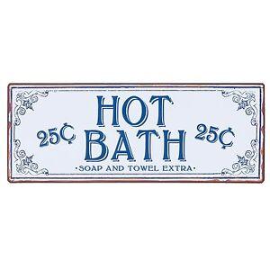 Clayre & eef Metal Sign Bathroom Decor Hot Bath 18 1/8x6 ...