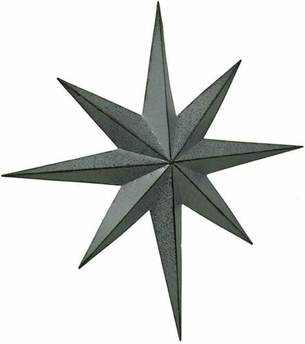 Zeckos Rustic Galvanized Finish Metal 8 Pointed Star Wall Hanging 18 inch