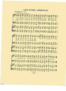 """Vtg UNION COLLEGE song sheet /'COLLEGE ON THE HILL/"""" SCHENECTADY NY  c1931"""