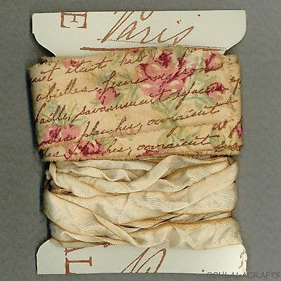 pink tea stained sweet pink shabby fabric stamped french ribbon seambinding 1182