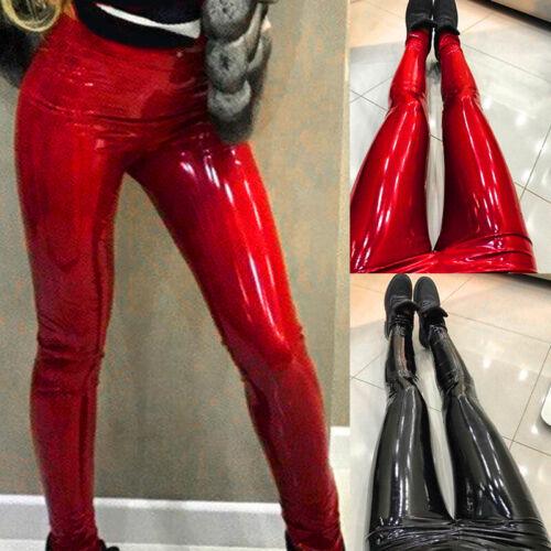 Damen Legging Hose Jeans Reitleggings Kunstleder Wet look Langehosen Strumpfhose