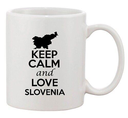 Keep Calm And Love Slovenia Country Map Patriotic Ceramic White Coffee Mug
