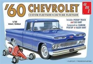 Amt 1 25 Chevrolet Custom Fleetside Pickup Truck 1960 W Go Kart Amt1063