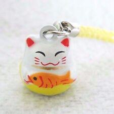 YELLOW FISH MANEKI NEKO CAT JAPANESE LUCKY CHARM BELL MOBILE CELL PHONE HANGING