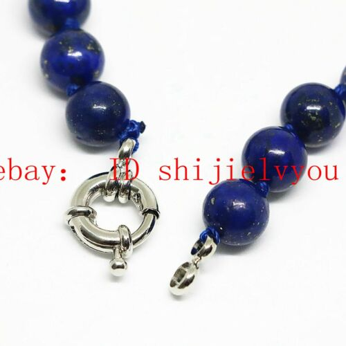 Size 8mm10mm12mm natural Egyptian blue lapis lazuli round bead necklace 18-36/'/'