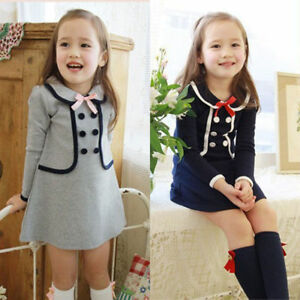 409203b29fc8 Kids Baby Girl A-Line Dress Winter Long Sleeve Party Dress Preppy ...