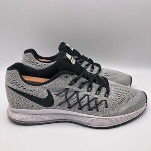 Nike-Boys-Zoom-Pegasus-32-Sneakers-Gray-Black-Low-Top-759968-001-Lace-Up-6Y