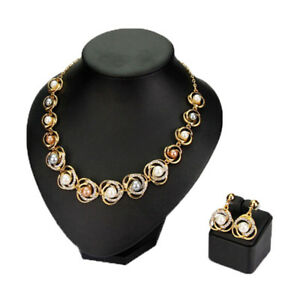 Image Is Loading Necklace Earrings Simulated Pearl Flower Jewelry Sets Wedding